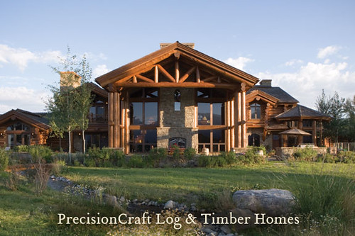 Custom design handcrafted log log home in wyoming by p for Custom home builders wyoming