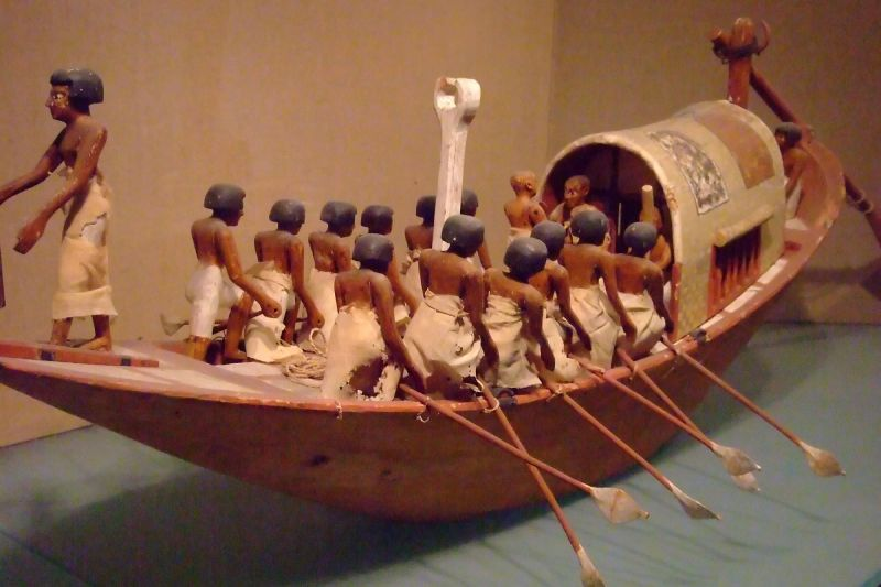 Traveling Boat Rowing Dynasty 12 early reign of Amenemhat I from tomb of Meketre Thebes 1981-1975 BCE (4)