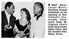 Duke Ellington with Spike Jones and Helen Greco at Hollywood's Crescendo Club - Jet Magazines September 2, 1954 | by vieilles_annonces