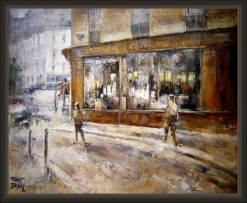 Paris Restaurant Cave Paisajes Calles Restaurantes Pintura