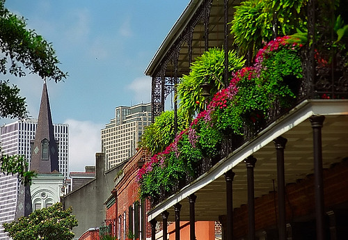 New Orleans - City Skyline & French Quarter Balcony | by David Paul Ohmer