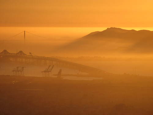The Golden Gate & San Francisco Bay at sunset, the Golden Gate, Bay Bridge, and Alcatraz Island are visible. Taken on Skyline Blvd. in the hills above Oakland, CA, USA on Sep. 6-2010. 4501 | by lonewolfpics