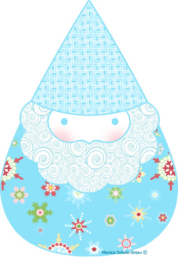 ©Gnoma Claus - aqua (that never made the cut for my Holiday Happy fabric line) | by Happy Zombie