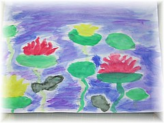 9 yo's Waterlilies in Watercolor | by PlayVentura