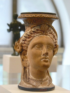 Terracotta oinochoe (jug) in the form of a woman's head Etruscan late 4th century BCE | by mharrsch