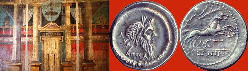 337/1 coin of Decimus Silanus with Mask of Silenus 91BC, and architectural fresco with Mask of Silenus from the Boscoreale villa of Fannius Synistor | by Ahala
