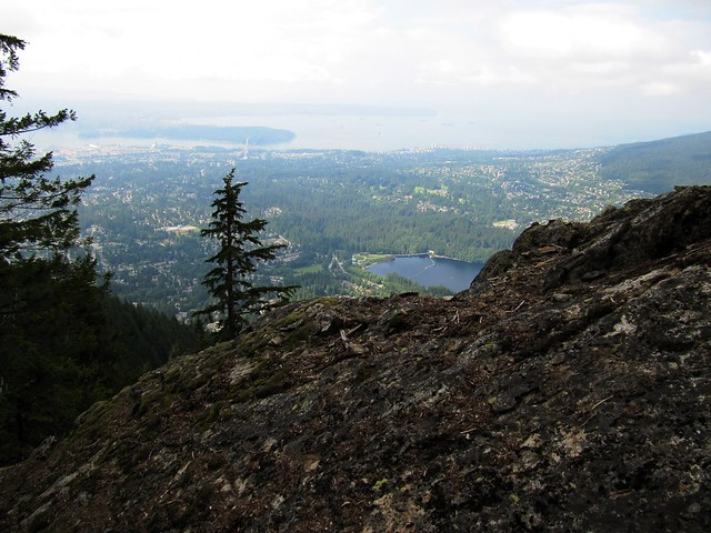 view of Vancouver from the Flint and Feather trail on Grouse Mountain..
