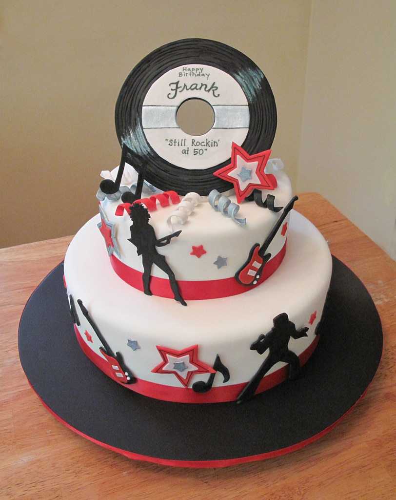 50th Birthday Rock N Roll Cake Fondant Covered With Gumpa Flickr