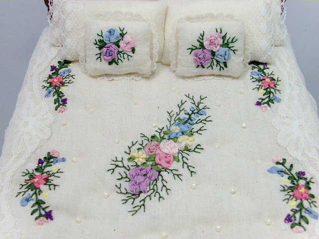 Silk Ribbon Embroidered Dressed Bed Dollhouse Miniature B Flickr