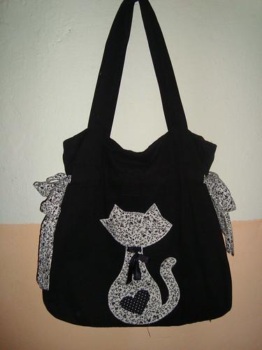 Bolsa De Tecido Vintage : Bolsa de tecido preta com detalhe gato hermela cris