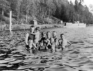 Bathers in Lake Washington at Burrows Landing, Bellevue, Washington | by UW Digital Collections