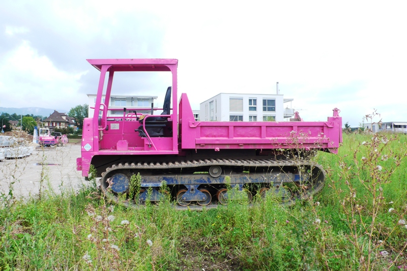 A pink building machine