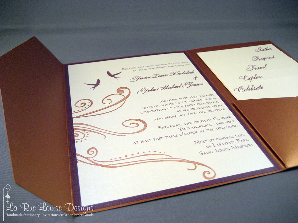Copper & eggplant pocketfold wedding invitations | Close-up … | Flickr