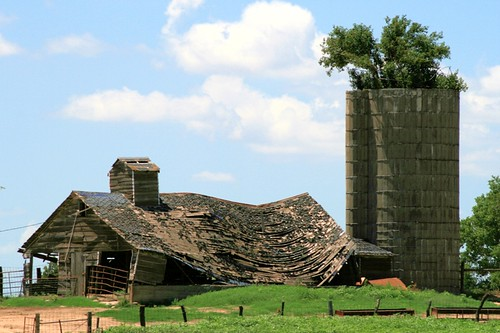Tired old barn and silo with tree - explore | by Marvin Bredel