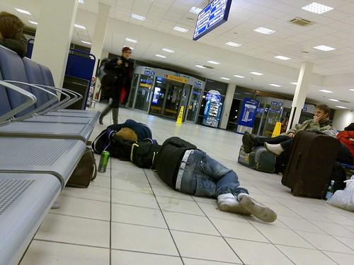 People Sleeping On Floor Luton Airport 06 02 2010 People