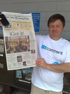 Mark Graham showing off the front page of the Mercury News (local newspaper showing me getting my iPhone) | by Robert Scoble
