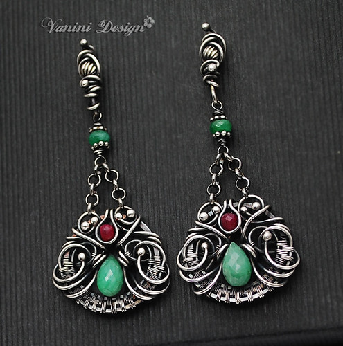 Esmeralda -Fine999/Sterling Silver,Emerald,Ruby chandelier post earrings | by VaniniDesign