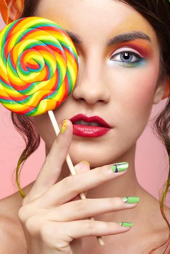 Beautiful Model With Lollipop Portrait Of Beautiful Girl