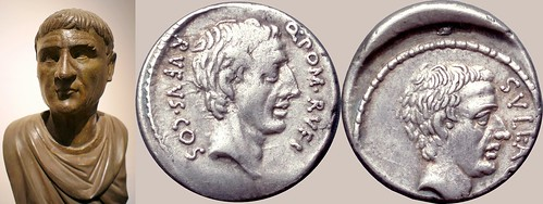 434/1 coin of Publius Cornelius Sulla with Pompeius Rufus, together with a portrait statue of Sulla | by Ahala