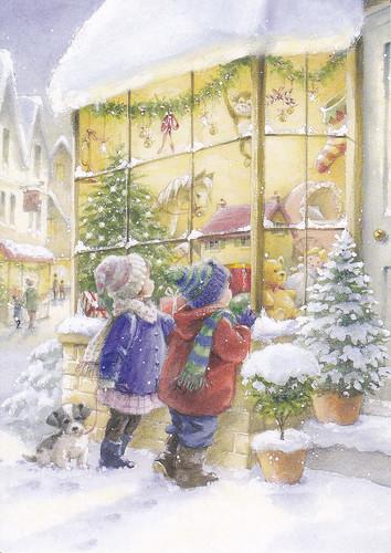 kids peeking in toy store christmas card