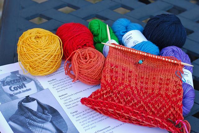 Handknit colourwork Zeccola Cowl in progress by irieknit