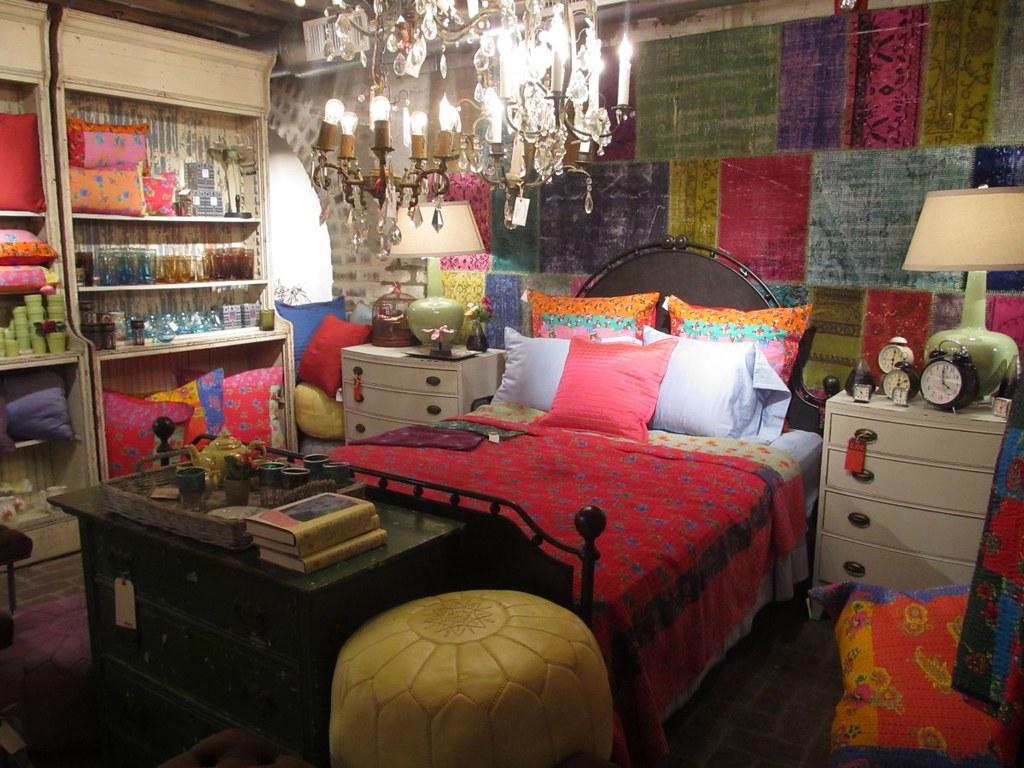 Eye Catchy Bohemian Bedroom Ideas Feats Colorful Wallpaper