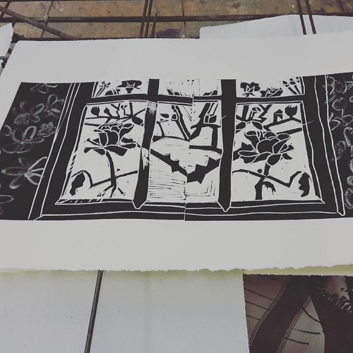 Last night #printmaking #latergram #linoprint #linocut #monoprint #dryingrack #wip #reliefprint #rose #window #drawing #marylouiseevans  #patternplaces | by mary  louise evans