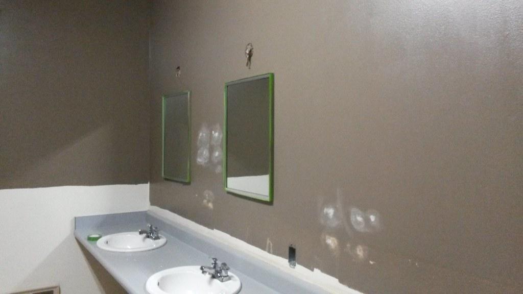 New paint color, old sinks (Men\'s room) | Robin | Flickr