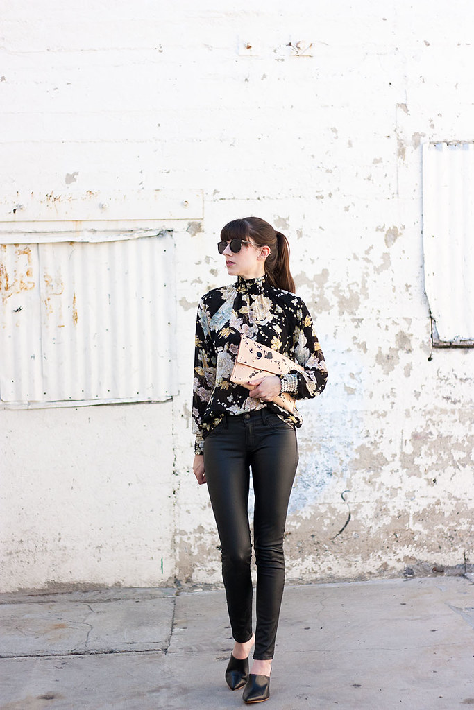 High Neck Floral Blouse, Faux Leather Jeans