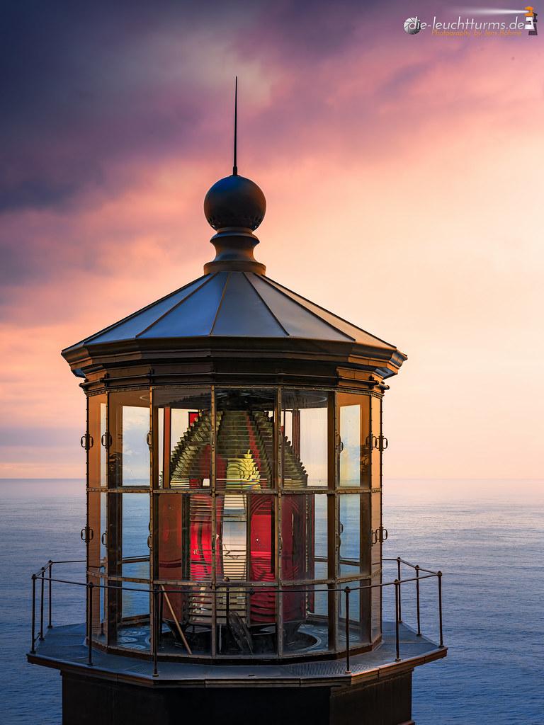 Setting sun on Cape Meares Light
