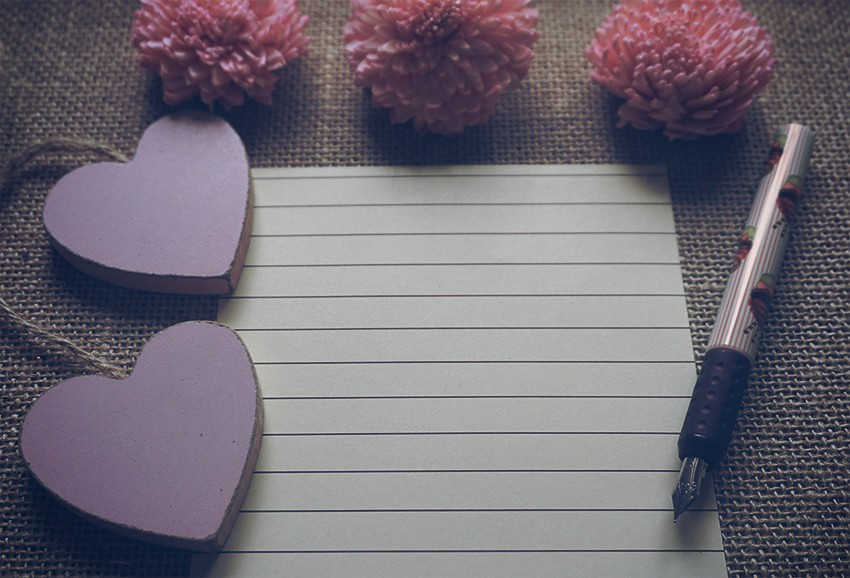 Feminine Scene Pink Dry Flowers Wooden Hearts Fountain Pen Lined Paper