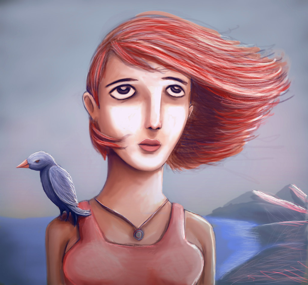 pretty girl and her bird llustration and digital painting flickr