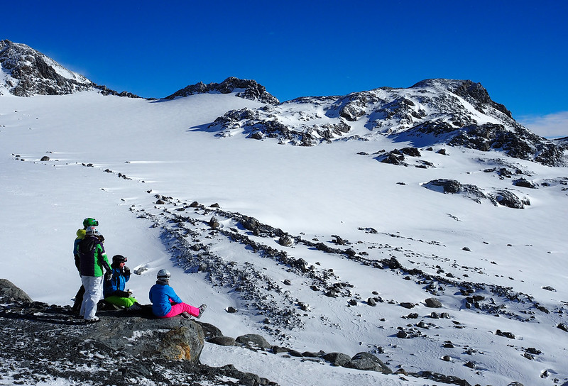 Extreme Environments - Pausing for a break during a day skiing, Val Thorens, French Alps