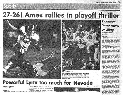 1986 AHS Football scanned newspaper article p027 dated October 30 1986 #AmesHighClassof1986 #AHS1986football #AHS1986  Ames rallies in playoff thriller  Daddow: None more exciting | by ameshighschool