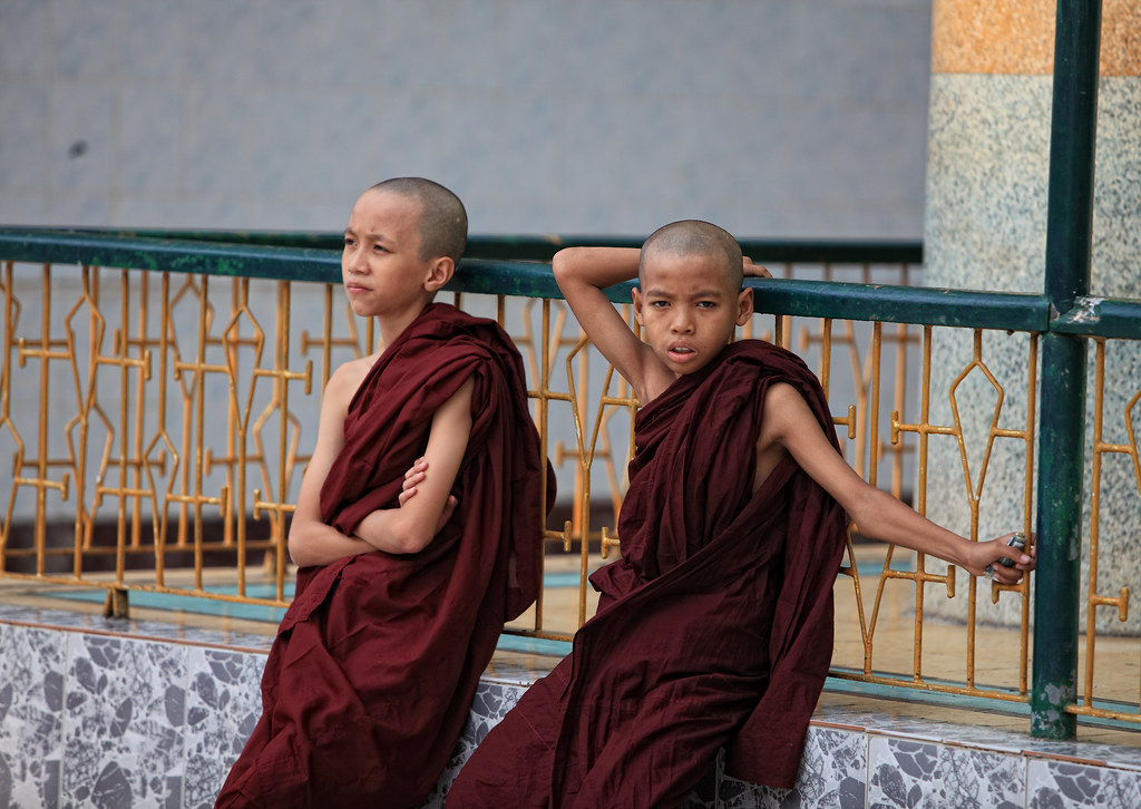 Novice Monks At The Shwedagon
