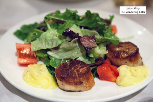 Seared diver scallops with salad | by thewanderingeater