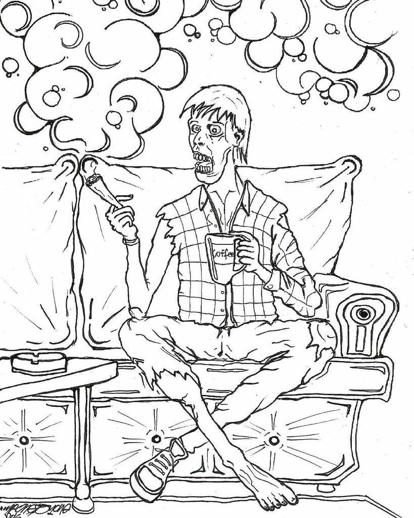 Zombie Stoners Coloring Book Pg1 Sketchbook Sketch Drawing Pencil