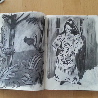 2014 - andalouse d'après matisse - #art #charcoal #sketchbook #sketch #moleskine #landscape #forest #tree #spain #flamenco #blackandwhite #woman #bush #portrait #drawingoftheday #draw #drawing #illustration #paper #instagram | by archibaldapori