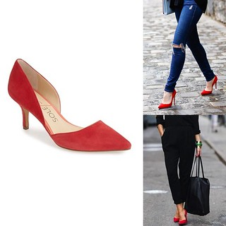 how to wear red suede heels | by It's Great To Be Home