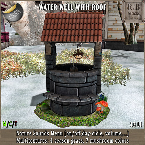 NEW RELEASE!!! *RnB* Water Well w Roof - Nature Sounds Menu & Multitextures (copy) | by Bethesa