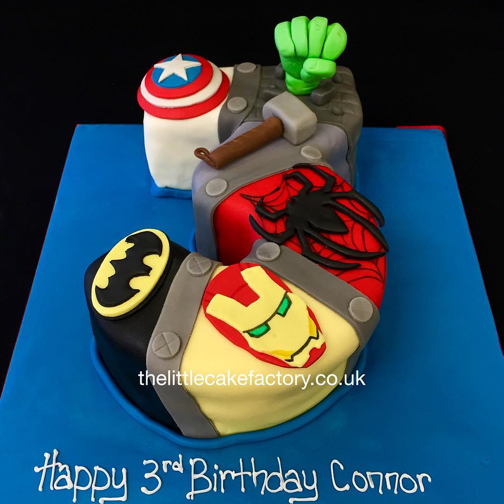 Super Hero Number 3 Birthday Cake children number birth Flickr