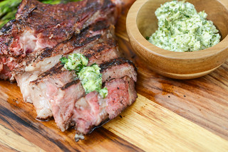 Chili-Rubbed Smoked Ribeye with Cilantro-Lime Butter