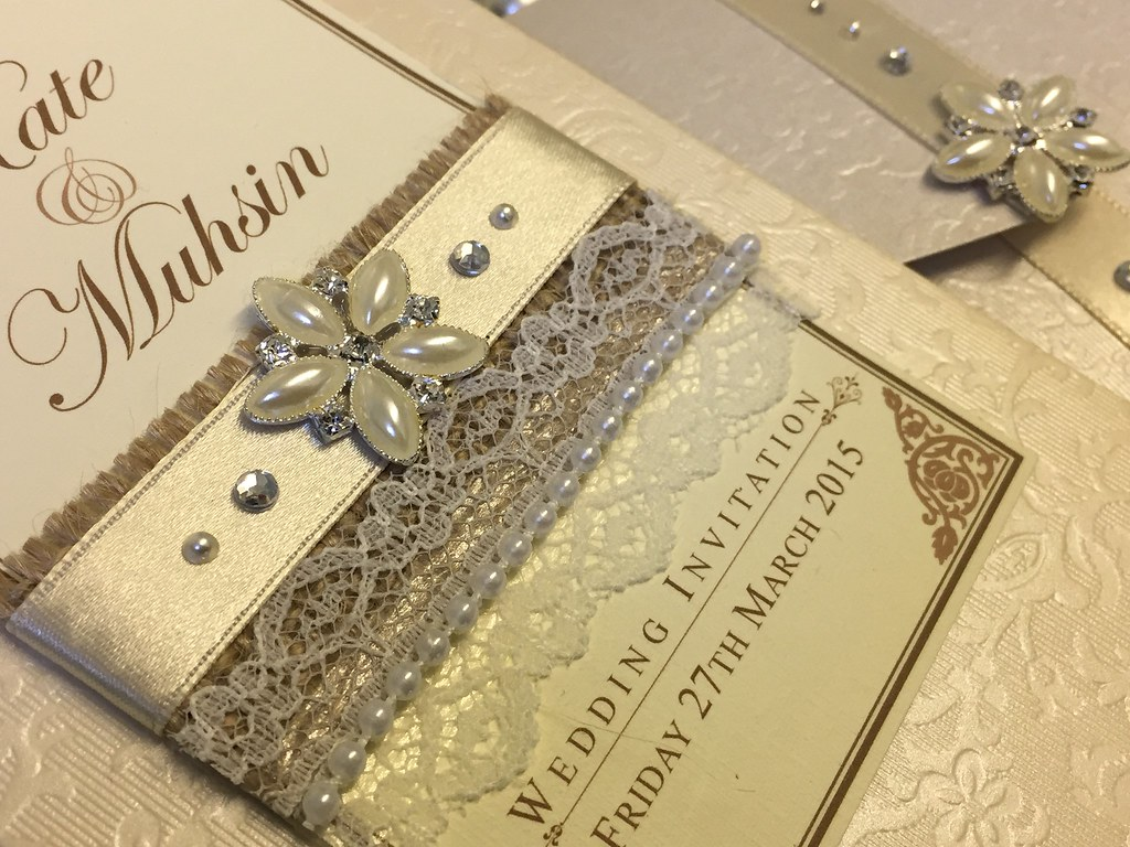 Stunning hessian and lace with pearls make this pocket wed… | Flickr