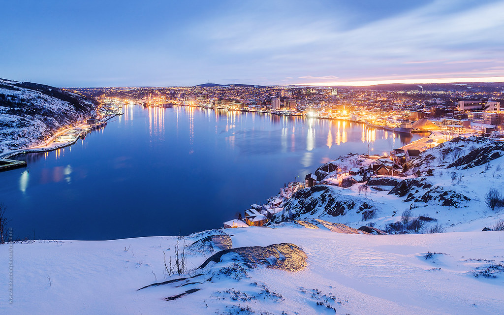 winter scene of st john s harbour at blue hour st john s flickr