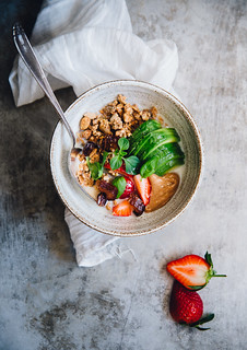 Olive Oil & Buckwheat Crisp Granola with Avocado, Nut Butter & Strawberries | Cashew Kitchen | by cashewkitchen