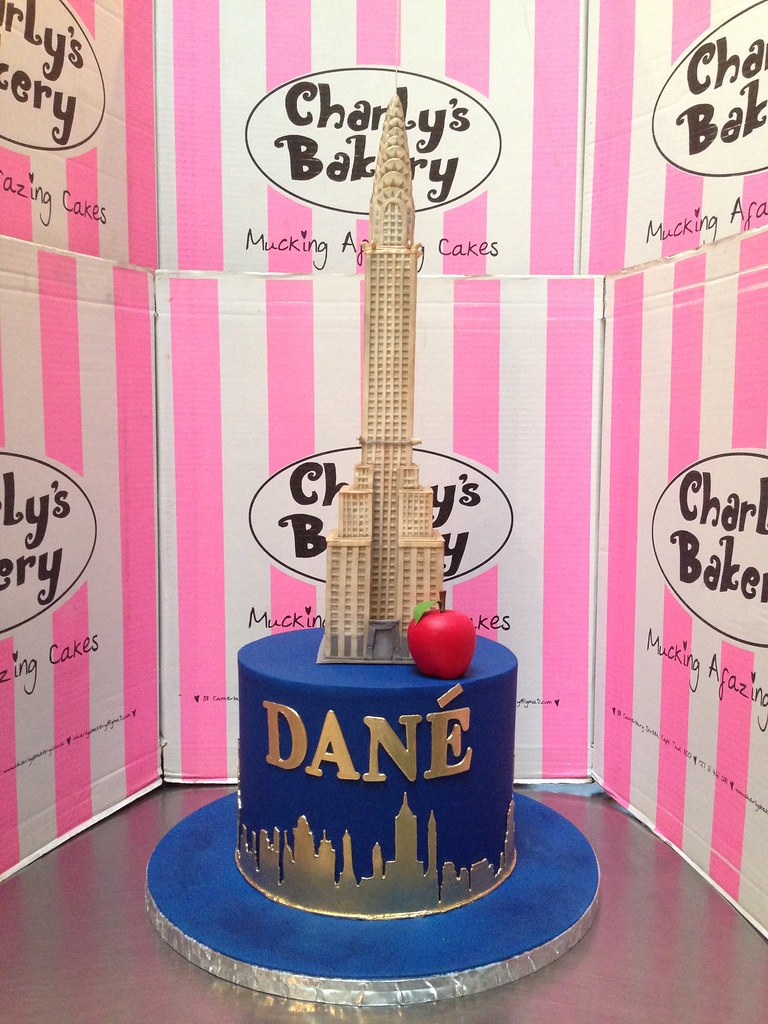 New York City And Chrysler Building Themed Birthday Cake With Extra Large 3D Topper