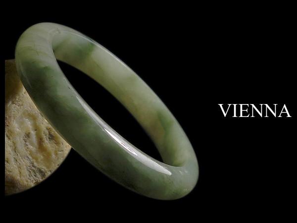 一元起標無底價《A貨翡翠》【VIENNA】《手圍18.9/12mm版寬》緬甸玉/冰種嬌豔綠花青/玉鐲/手鐲K-062