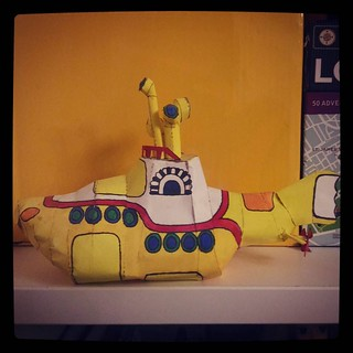 Random shot of my bookshelves to fill up daily quota, #yellow submarine #papercraft for #365days project, 109/365