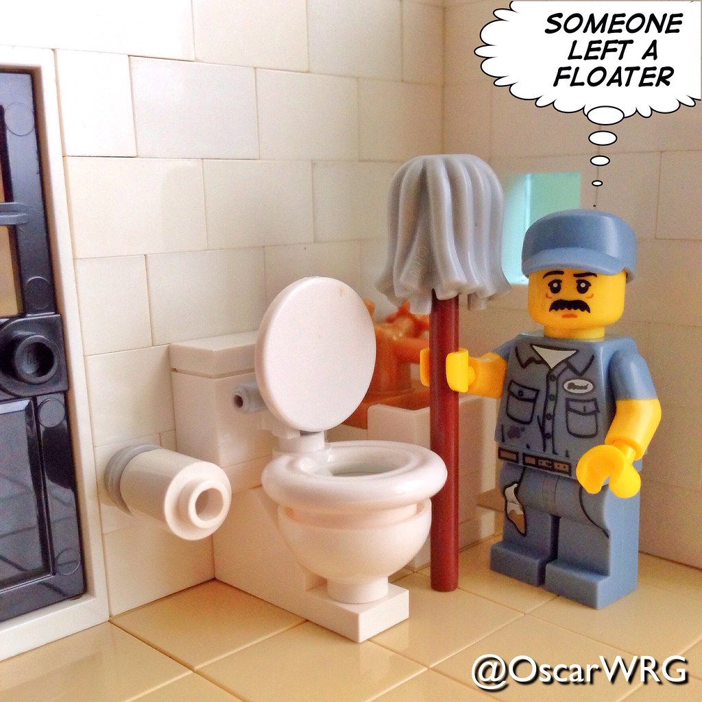 lego janitor bathroom wc watercloset loo flushtoile flickr