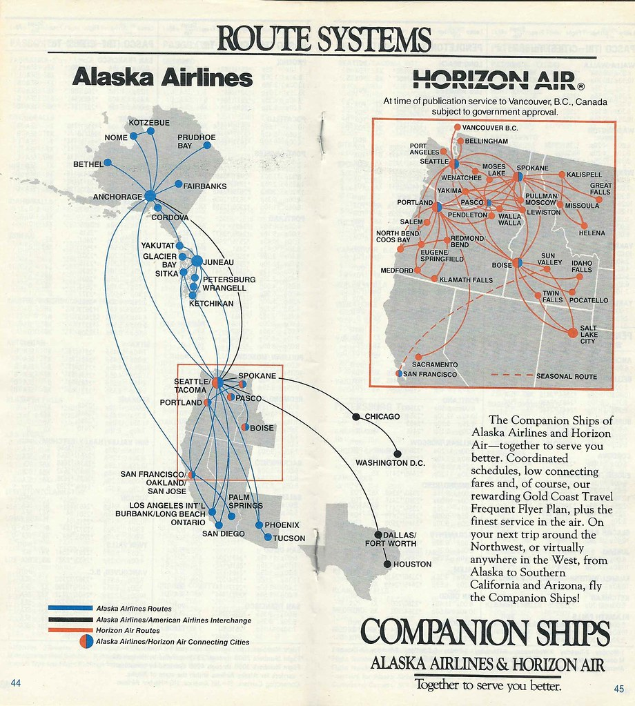 alaska airlines and horizon air route system, 1987 | flickr